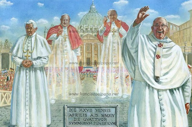 francisco y la canonizacion 17 los 4 papas